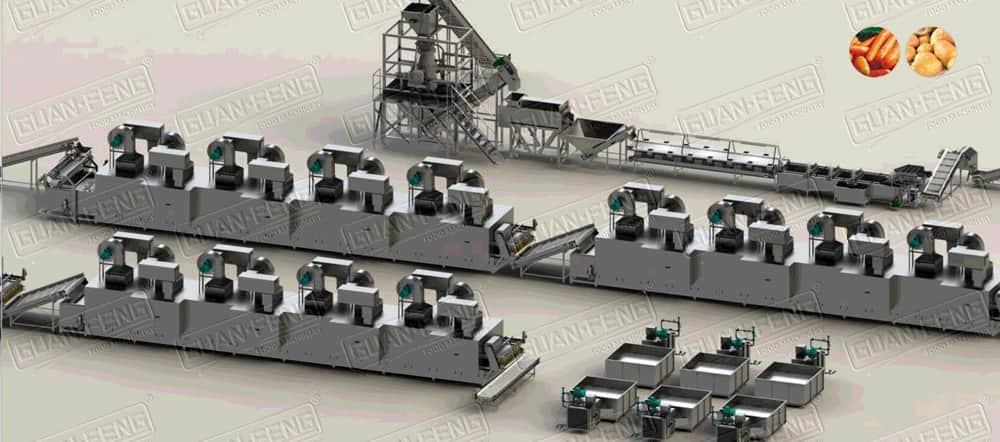 GBJ Automatic Drying Processing Line For Fruits And Vegetables 3T